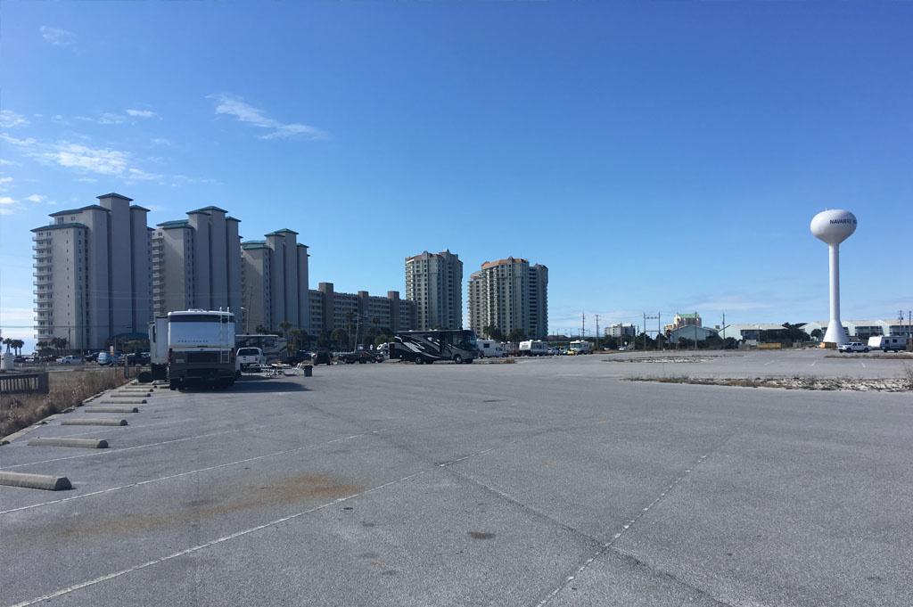 Generic-Van-Life-Camping-Navarre Beach Boat Ramp – Florida -United-States-parkinglot view
