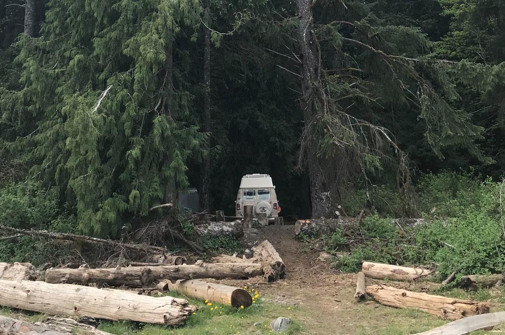 Generic-Van-Life-Camping-Spot-Arden Creek- Vancouver Island – British Columbia – camp view