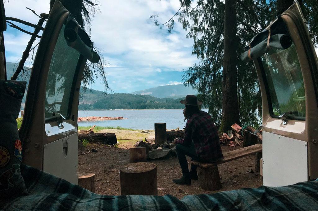 Generic-Van-Life-Camping-Spot-Arden Creek- Vancouver Island – British Columbia – view from the back doors