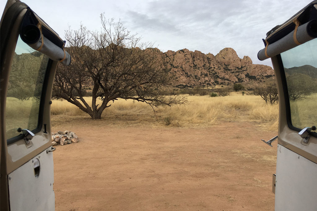 Generic-Van-Life-Camping-Spot-Dragoon-Mountains-Arizona-United-States-back door view