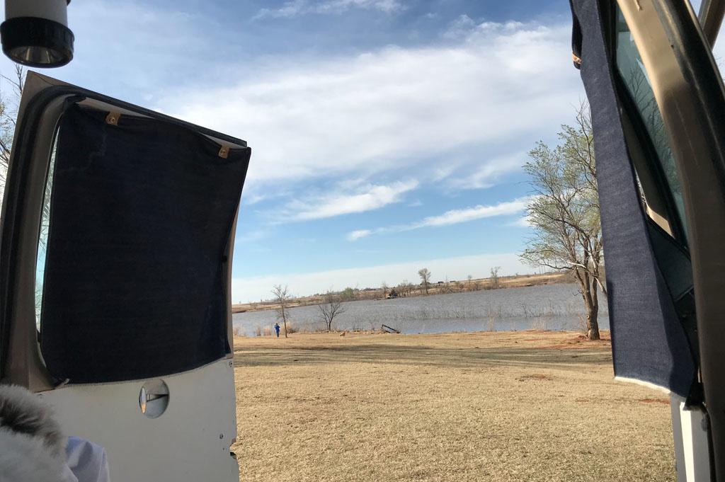 Generic-Van-Life-Camping-Spot-Elk City WMA-Oklahoma-United-States-rear van view