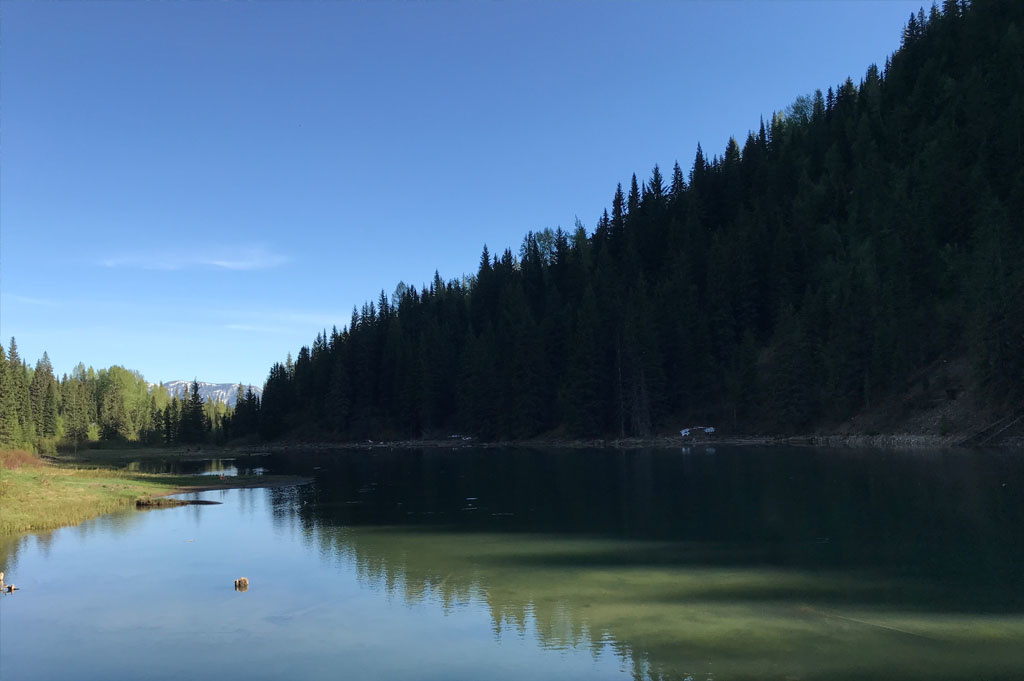 Generic-Van-Life-Camping-Spot- Hartley Lake – British Columbia – campsite lake view