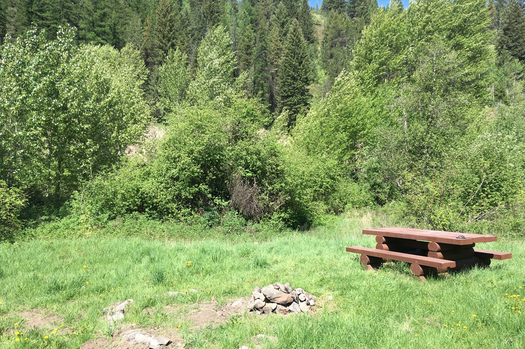 Generic-Van-Life-Camping-Spot- Jolly Creek – British Columbia – campsite picnic table and fireplace