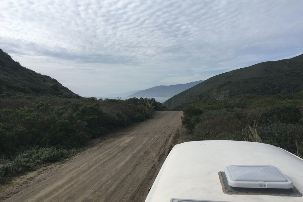 Generic-Van-Life- Camping-Spot – Los Burros Road – Big Sur – California – United States – our view from the roof