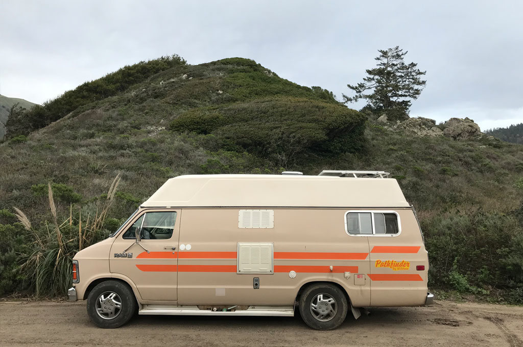 Generic-Van-Life- Camping-Spot – Los Burros Road – Big Sur – California – United States – view of our spot