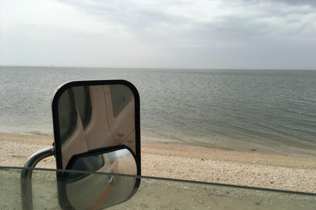 Generic-Van-Life-Camping-Spot-Magnolia Beach-United-States- van mirror
