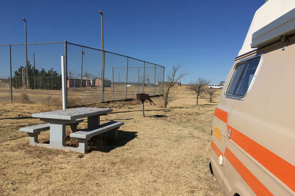 Generic-Van-Life-Camping-Spot- San Jon City Park -New Mexico-United-States-rear van view