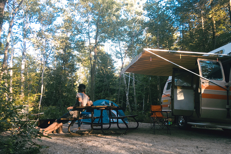 Generic-Van-Life-Camping-Spot-Magregor-Point-Provincial-Park-Ontario-Campfire