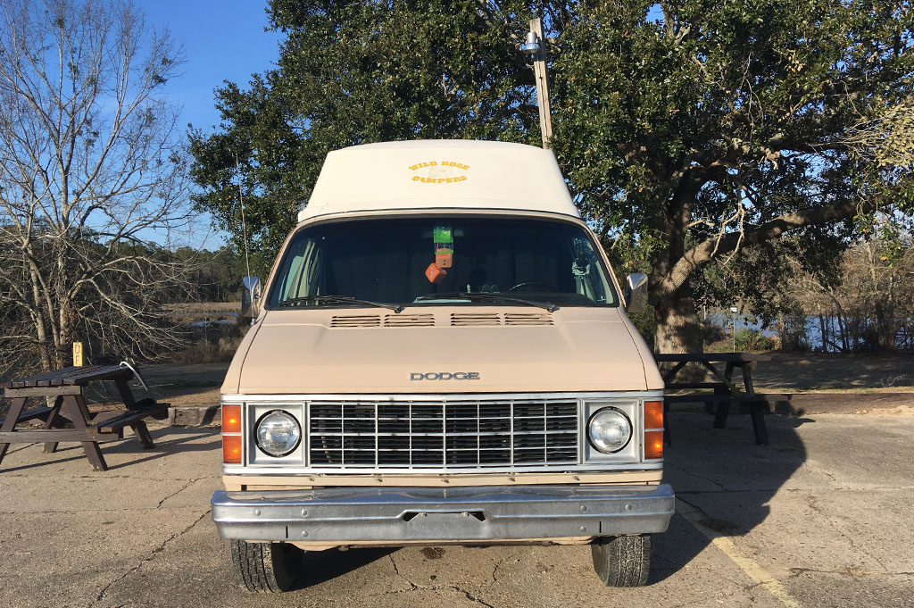 Generic-Van-Life-Camping-Indian Point – Mississippi -United-States-view of van