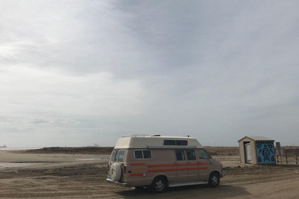 Generic-Van-Life-Camping-Spot-Bolivar Flats – Texas-United-States-vault toilet