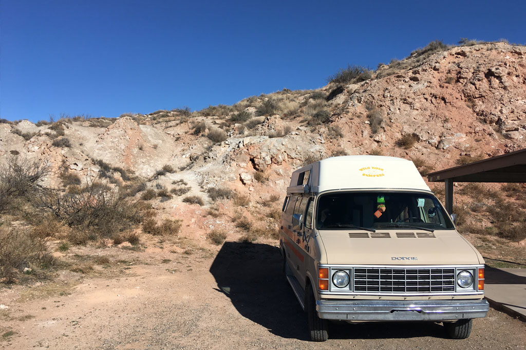 Generic-Van-Life-Camping-Spot-Bottomless-Lakes-New Mexico-United-States-van with parked in camp