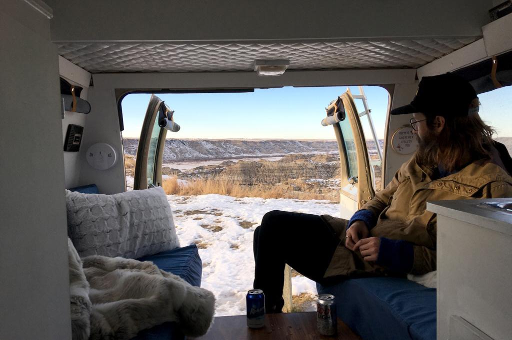 Generic Van Life – Camping Spot – Horsethief Canyon Alberta Canada – Having A Beer