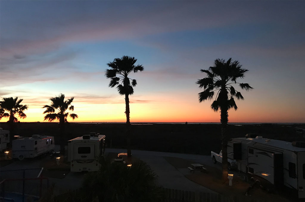 Generic-Van-Life-Camping-Spot-Jamaica Beach RV Park – Texas-United-States-sunset