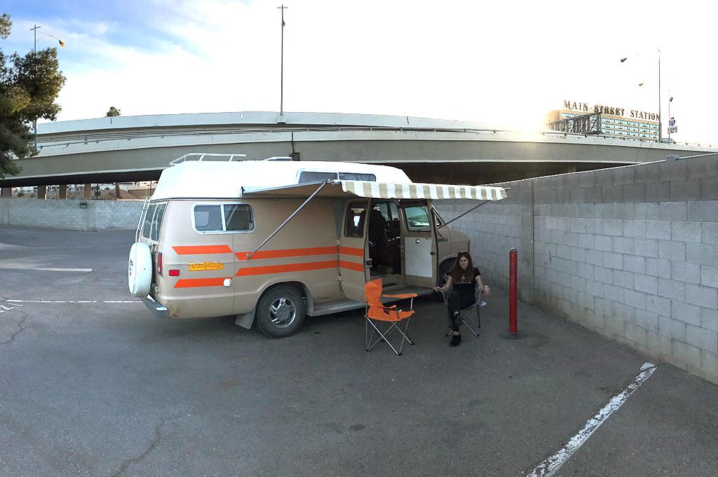 Generic Van Life - Camping Spot - Main Street Station Rv Park - Las Vegas Nevada United States - Parking Lot View