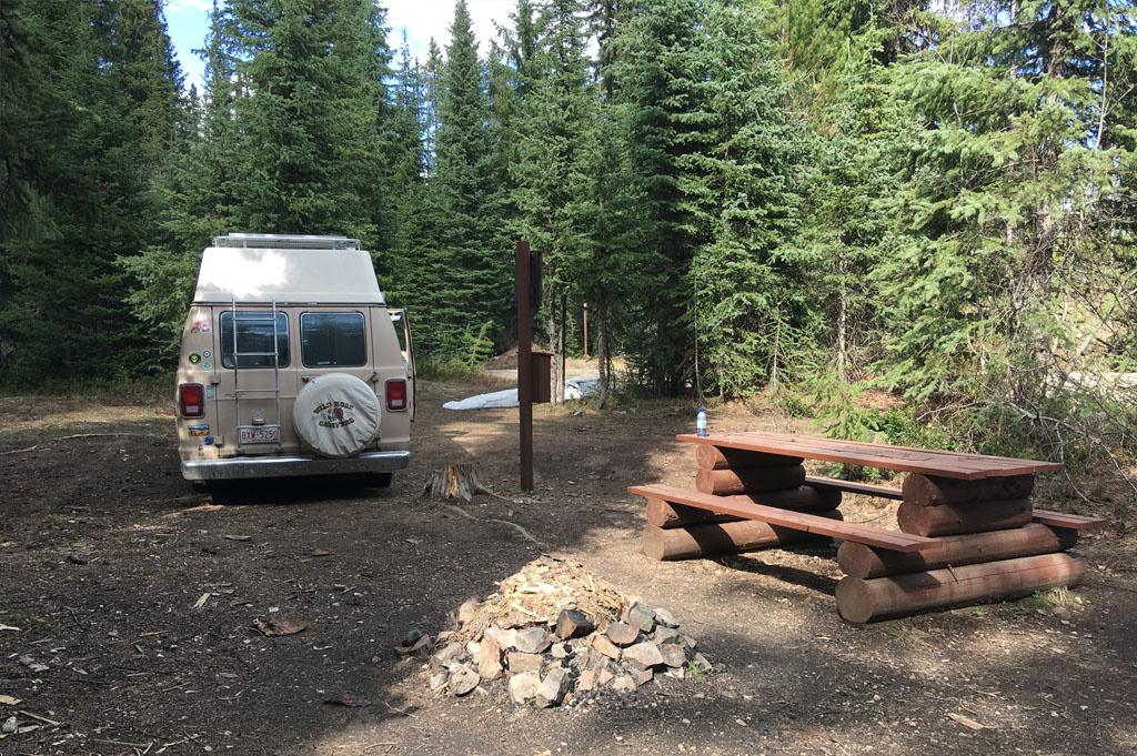 Generic-Van-Life-Camping-Spot- Mud Lake – British Columbia – back of van and the fireplace