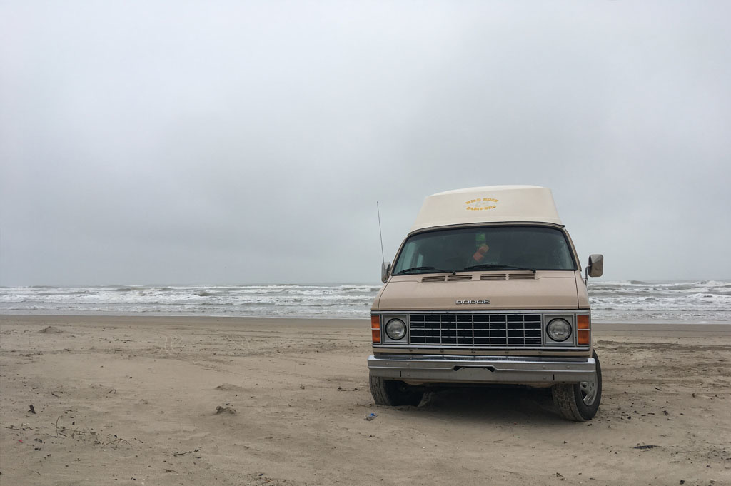 Generic-Van-Life-Camping-Spot-Padre Island-United-States-View of camping spot