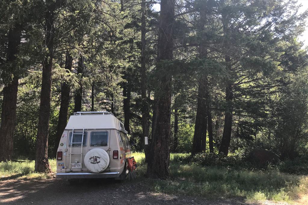 Generic-Van-Life-Camping-Spot- Similkameen River – British Columbia – rear view of van