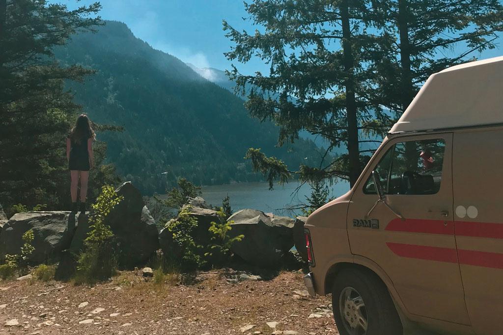 Generic-Van-Life-Camping-Spot- Squamish Rock – British Columbia – olivia taking a view