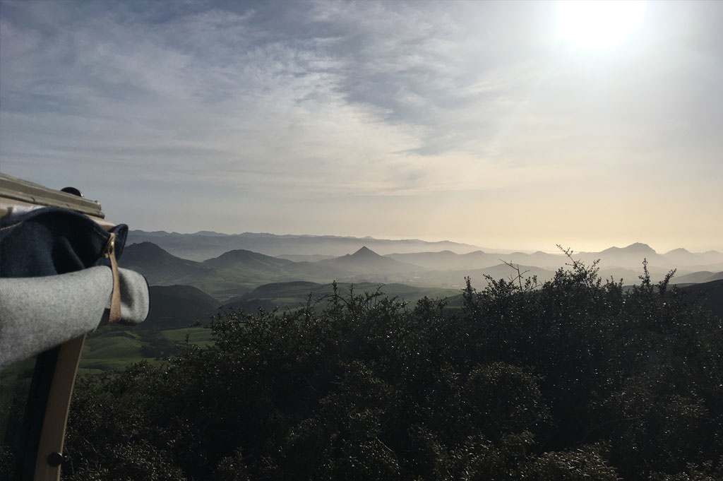 Generic-Van-Life-Camping-Spot – TV Tower Road – California – United States – sunset behind the van