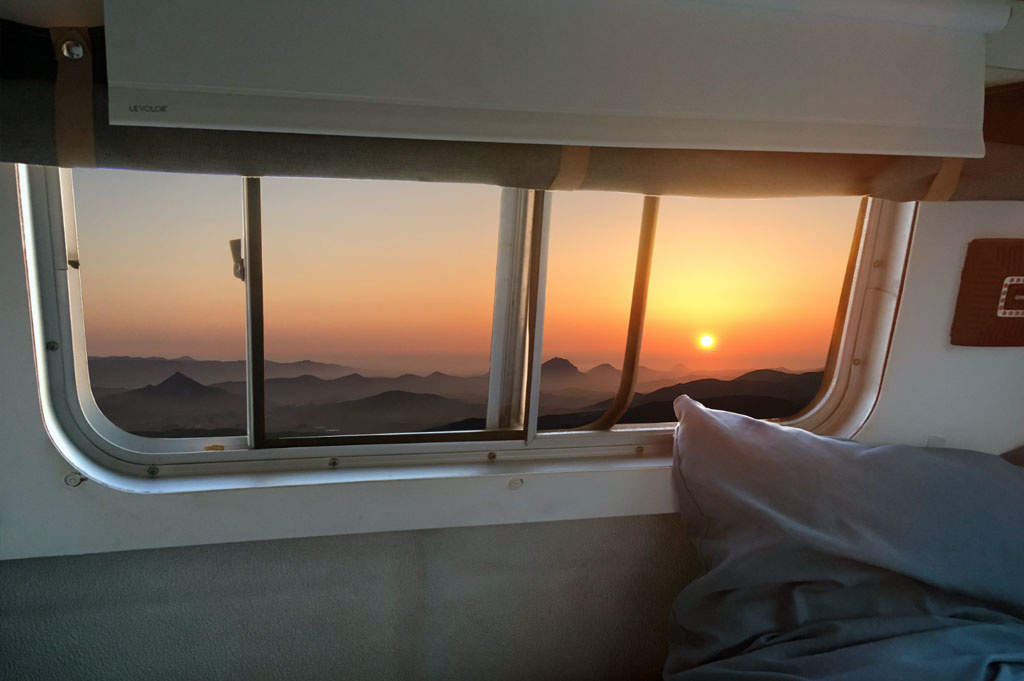 Generic-Van-Life-Camping-Spot – TV Tower Road – California – United States – sunset from inside the van