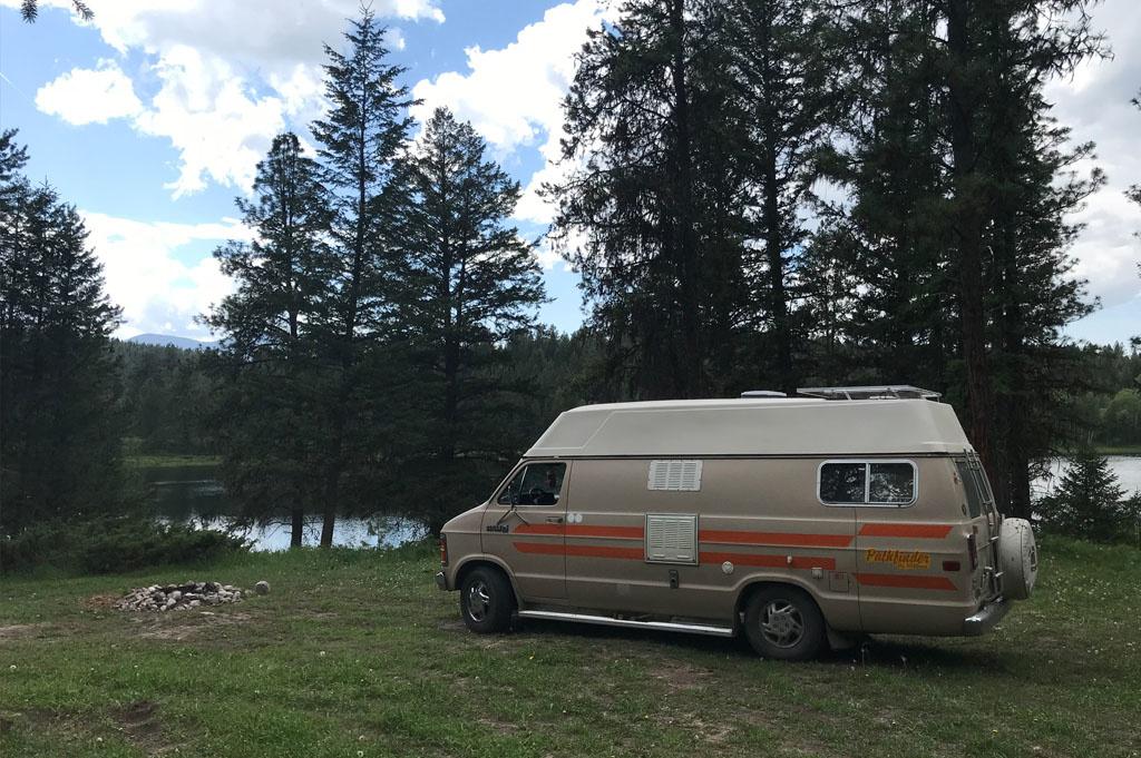 Generic-Van-Life-Camping-Spot- Wapiti Lake – British Columbia – van and the fireplace