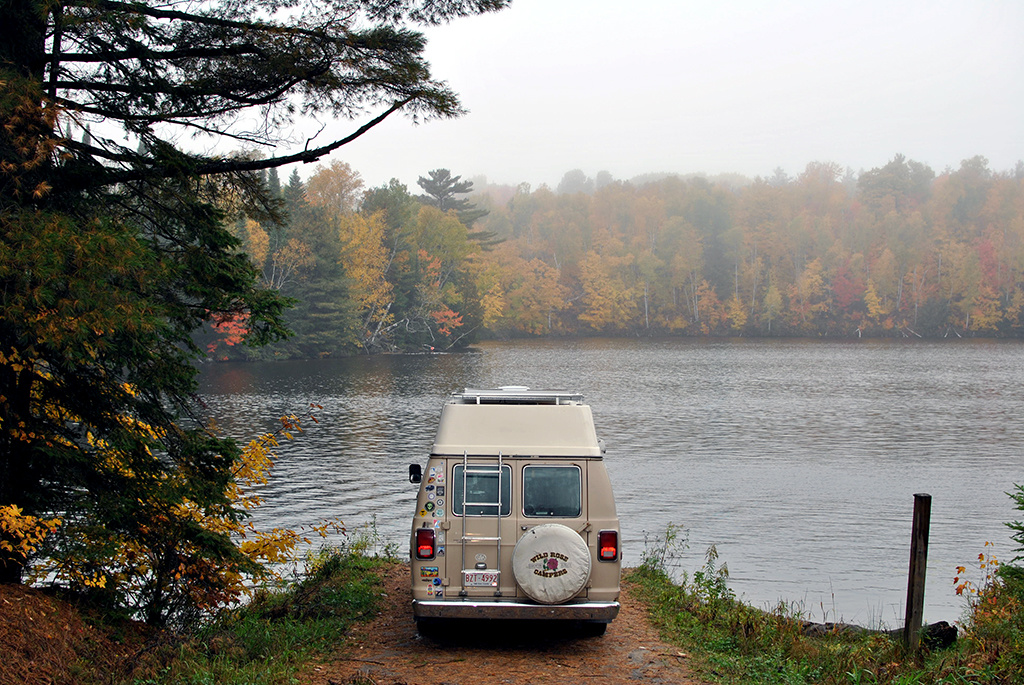 Generic-Van-Life-Camping-Spot-Ess-Narrows-Ontario-Leaves