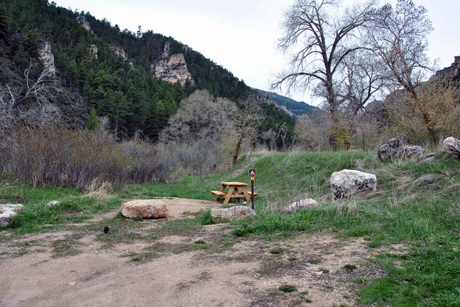 Generic-Van-Life-Camping-Spot-Tongue-River-Canyon-Wyoming-Picnic-Table
